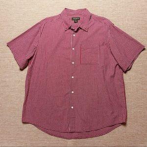 EDDIE BAUER Red Short Sleeve Seersucker Shirt XXL
